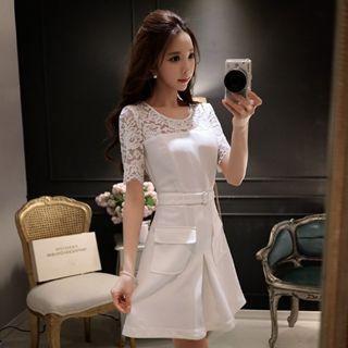 Short-sleeve Lace-panel A-line Dress