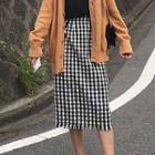 Fringed Checked Skirt