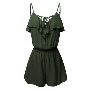 Lace Up Spaghetti Strap Playsuit