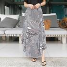 Elasticized-waist Pattern Flared Maxi Skirt