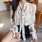 Star Print Tie-neck Chiffon Blouse Star - One Size