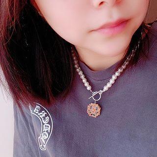Faux Pearl Smiley Pendant Necklace Orange - One Size
