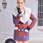Furry Collar Plaid Coat