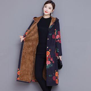 Hood Floral Trench Coat