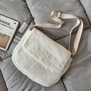 Furry Messenger Bag Off-white - One Size