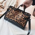 Leopard Print Studded Crossbody Bag