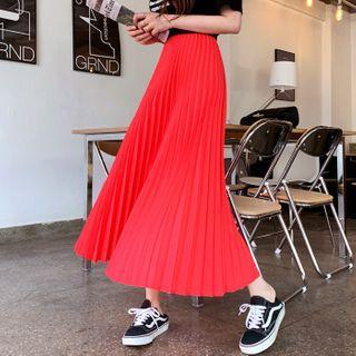 Colored Maxi Accordion-pleat Skirt