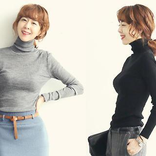 Turtleneck Rib-knit Sweater
