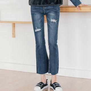 Crop Boots Cut Jeans