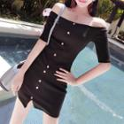 Set: Off Shoulder Elbow-sleeve Top + Fitted Skirt