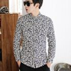 Long-sleeve Floral Corduroy Shirt