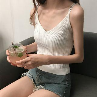 Chain Strap Ribbed Knit Camisole Top