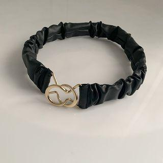 Symmetric Ruched Pleather Belt Black - One Size