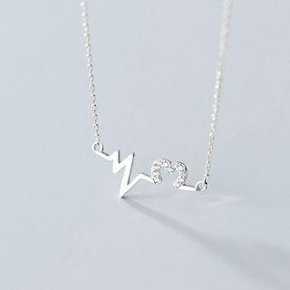 925 Sterling Silver Rhinestone Heartbeat Pendant Necklace Necklace - One Size