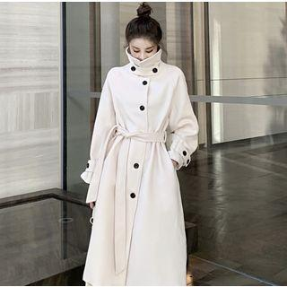 Stand-collar Wool Coat With Sash