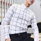 Color-block Check Slim-fit Long-sleeve Shirt
