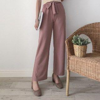 Tie-waist Straight-leg Pants