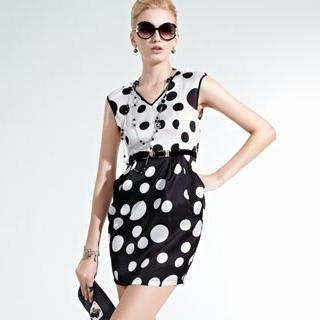Sleeveless Polka-dot Dress