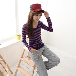 Long-sleeve Striped Long Top