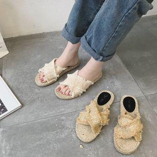 Cross Strap Espadrille Slide Sandals