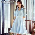 Buckled Applique Chiffon Dress