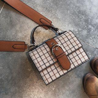 Buckled Check Shoulder Bag