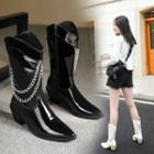 Chunky Heel Chained Short Boots