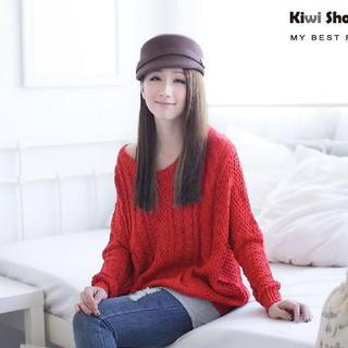 Cable-knit Sweater Red - One Size