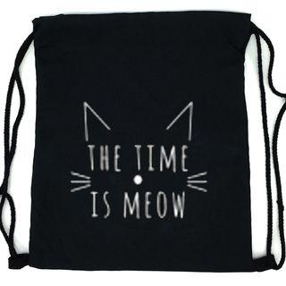Cat Print Drawstring Pouch Cat & Letters - Black - One Size