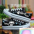 Painted Cat & Fish Canvas Sneakers
