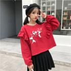 Embroidered Ruffle Trim Sweatshirt As Shown In Figure - One Size