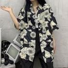 Elbow-sleeve Floral Print Shirt Shirt - One Size