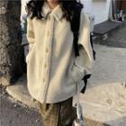 Plain Button Jacket / Plaid Midi Skirt