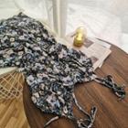 Floral Print Spaghetti-strap Mini A-line Chiffon Dress
