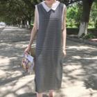 Striped Collared Sleeveless Midi Dress