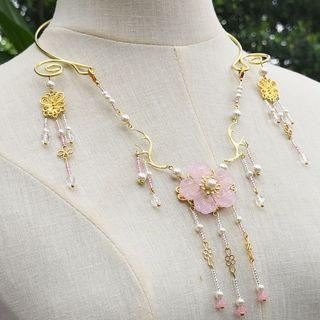 Retro Faux Pearl Flower Necklace As Shown In Figure - One Size