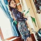 Long Sleeve Floral Embroidered Dress