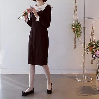 Contrast Layered-collar Dress Black - One Size