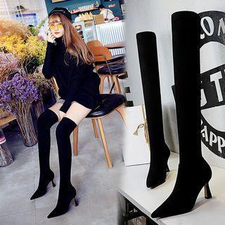 Pointed Block Heel Over-the-knee Heels