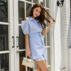 Slit-shoulder Striped Mini Shirtdress