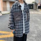 Lettering Pocket Plaid Shirt