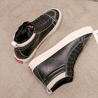 Fleece-lined Faux Leather High Top Sneakers