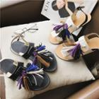 Tasseled Flat Slide Sandals