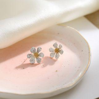 925 Sterling Silver Rhinestone Sunflower Stud Earrings Earring - One Size
