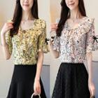 Frilled Elbow-sleeve Floral Print Chiffon Top
