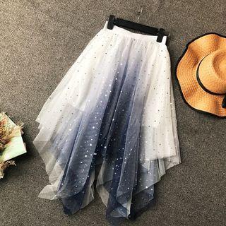 Star Sequins Mesh Asymmetric Hem Skirt