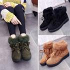 Frill Trim Furry Snow Boots