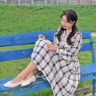 Frilled Plaid Midi Pleat Dress