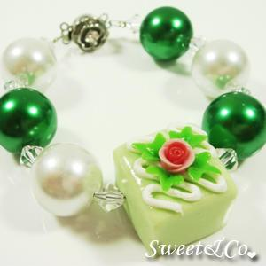 Sweet Color Rose Green Chocolate Pearl Crystal Bracelet