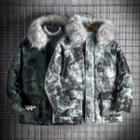 Camo Furry Trim Hooded Padded Coat